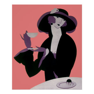 Vintage Art Deco Woman, Afternoon Tea and Cupcake Print