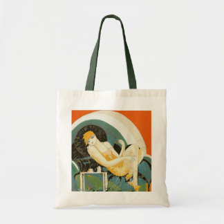 Vintage Art Deco Woman Reclining on Couch, Chompre Tote Bag