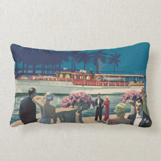 Vintage Art Deco Yacht Boat Cocktail Party Fashion Lumbar Pillow