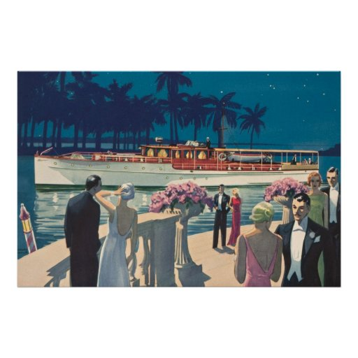 Vintage Art Deco Yacht Boat Cocktail Party Fashion Poster ...