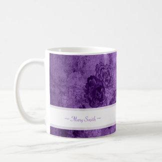 Vintage Art Floral Motive Custom Name Purple Basic White Mug
