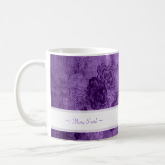 Vintage Art Floral Motive Custom Name Purple Coffee Mug