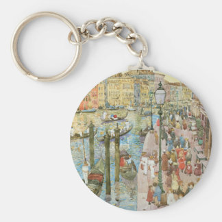 Vintage Art, Grand Canal, Venice by Prendergast Basic Round Button Key Ring