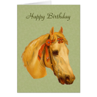 Vintage Art Horse Head Drawing Birthday Card