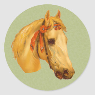 Vintage Art Horse Head Drawing Sticker