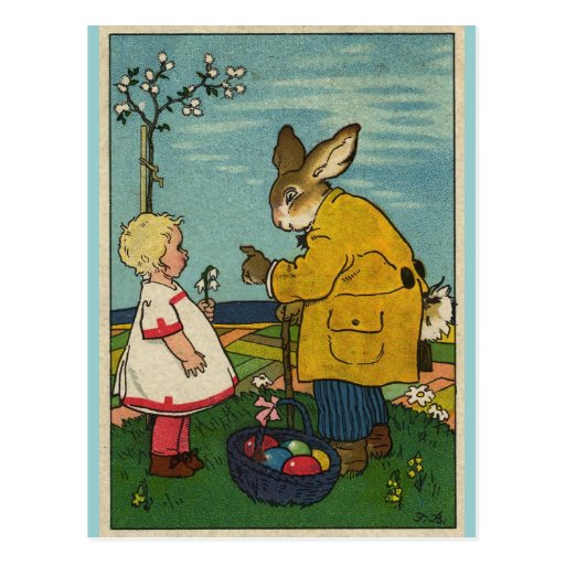 Vintage Art - Little Girl with The Easter Bunny Postcard