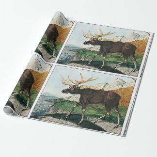 Vintage art moose wrapping paper