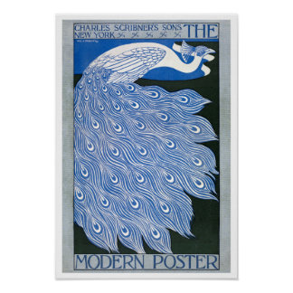 Vintage Art Nouveau Advertising Poster - Peacock