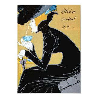 Vintage Art Nouveau Afternoon Tea Bridal Shower 13 Cm X 18 Cm Invitation Card