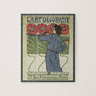 Vintage Art Nouveau, Artist Painting Poppy Flowers Jigsaw Puzzle