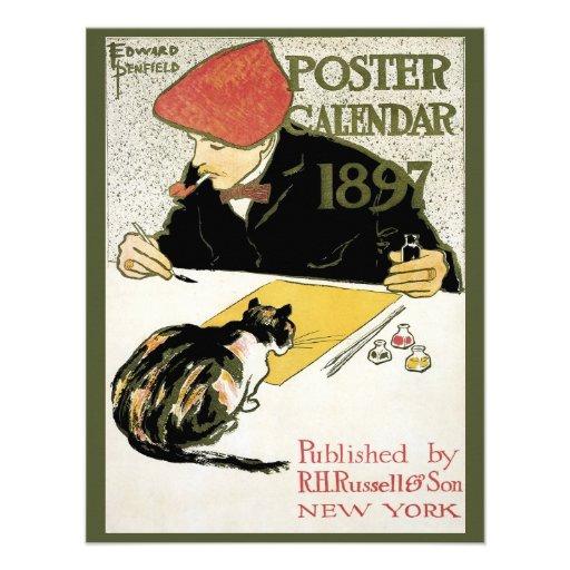 Vintage Art Nouveau; Artist Painting with Pet Cat Invitations