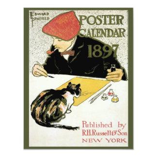 Vintage Art Nouveau, Artist Painting with Pet Cat 11 Cm X 14 Cm Invitation Card