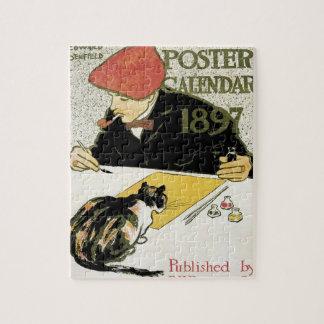 Vintage Art Nouveau, Artist Painting with Pet Cat Puzzles