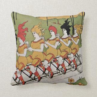 Vintage Art Nouveau, Bearings, Women on a Bicycle Cushion