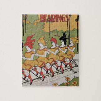 Vintage Art Nouveau, Bearings, Women on a Bicycle Jigsaw Puzzle