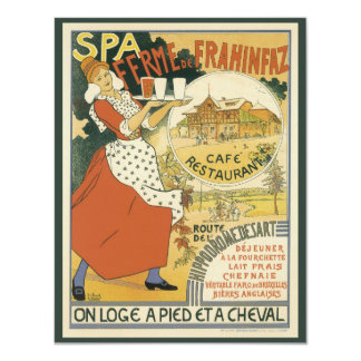 Vintage Art Nouveau, Beer Bar Cafe and Restaurant 11 Cm X 14 Cm Invitation Card