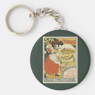 Vintage Art Nouveau, Beer Bar Cafe and Restaurant Basic Round Button Key Ring