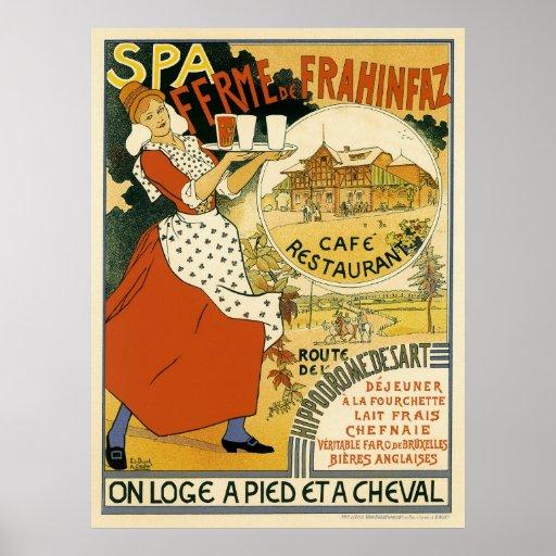 Vintage Art Nouveau; Beer Bar Cafe and Restaurant Poster