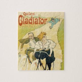 Vintage Art Nouveau, Bicycles Gladiator Cycles Jigsaw Puzzle