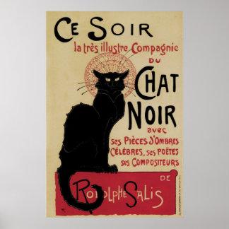 Vintage art nouveau black cat posters