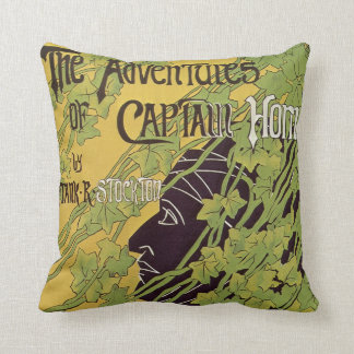 Vintage Art Nouveau Book, Captain Horn Adventures Cushion
