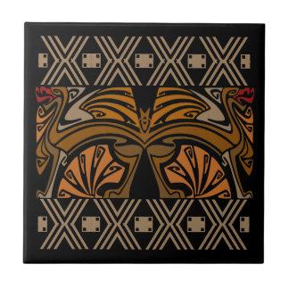 Vintage art nouveau brown dragons small square tile