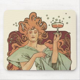 Vintage Art Nouveau by Mucha, Champagne Party Mouse Pad