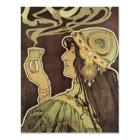 Vintage Art Nouveau Cafe Rajah, Woman Drinking Tea Card