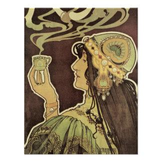 Vintage Art Nouveau Cafe Rajah, Woman Drinking Tea Invitations