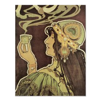 Vintage Art Nouveau Cafe Rajah, Woman Drinking Tea 11 Cm X 14 Cm Invitation Card