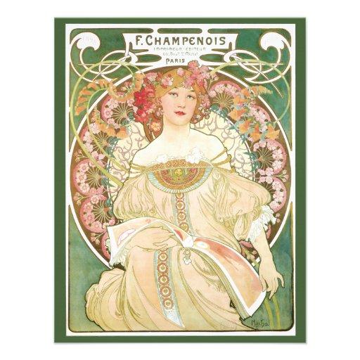 Vintage Art Nouveau; Champenois; Alphonse Mucha Personalized Invite
