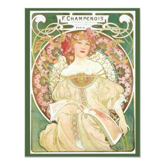 Vintage Art Nouveau, Champenois by Alphonse Mucha 11 Cm X 14 Cm Invitation Card