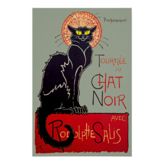 Vintage Art Nouveau Chat Noir Black Cat Art Poster