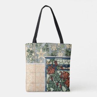 Vintage Art Nouveau, Columbine Aquilegia Flowers Tote Bag