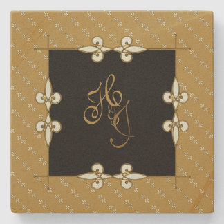 Vintage Art Nouveau Couple's Monogram Stone Coaster