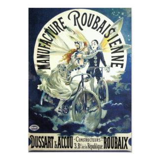 Vintage Art Nouveau Fairies, Pierrot Bicycle Moon 13 Cm X 18 Cm Invitation Card