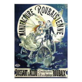 Vintage Art Nouveau Fairy Pierrot Bicycle Moon Invites