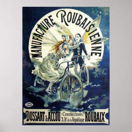 Vintage Art Nouveau; Fairy Pierrot Bicycle Moon Print