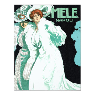 Vintage Art Nouveau, Fancy Women and Italy Fashion 11 Cm X 14 Cm Invitation Card