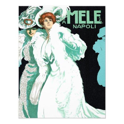 Vintage Art Nouveau; Fancy Women with Fur and Hats Personalized Announcement