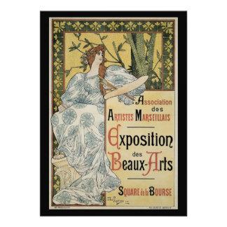 Vintage Art Nouveau Female Artist and Palette Announcements