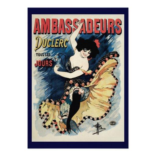 Vintage Art Nouveau, Flamenco Dancer, Ambassadeurs Personalized Announcement