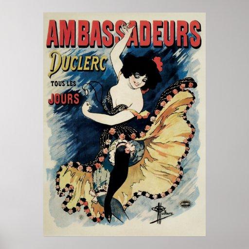 Vintage Art Nouveau, Flamenco Dancer, Ambassadeurs Posters