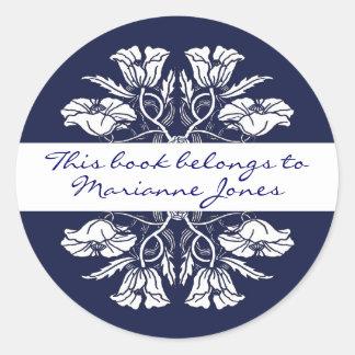 Vintage Art Nouveau Floral Book Plate Round Sticker
