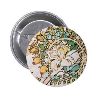 Vintage Art Nouveau Flowers Pinback Buttons