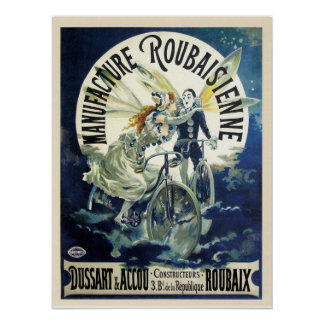 Vintage art nouveau French bicycle ad Poster