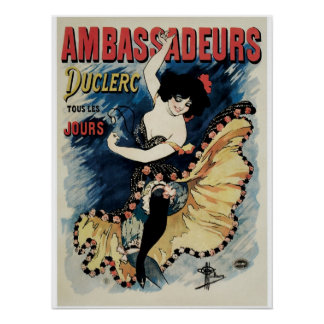 Vintage art nouveau French cancan dance ad Poster
