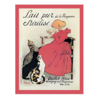 Vintage Art nouveau French milk ad, cats, girl Post Card