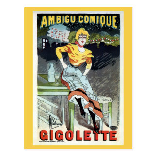Vintage Art Nouveau French theater ad Post Card