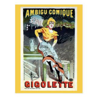 Vintage Art Nouveau French theater ad Postcard